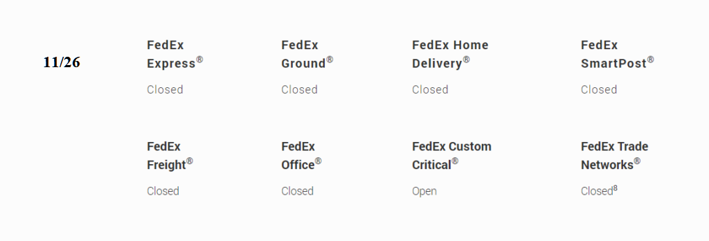 fedex schedule on thanksgiving day